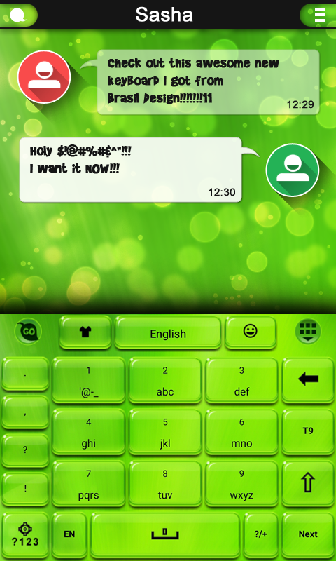 Android Green Light GO Keyboard Screen 1