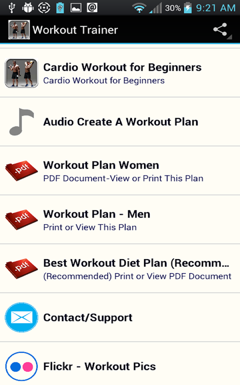 Android Workout Trainer Screen 10