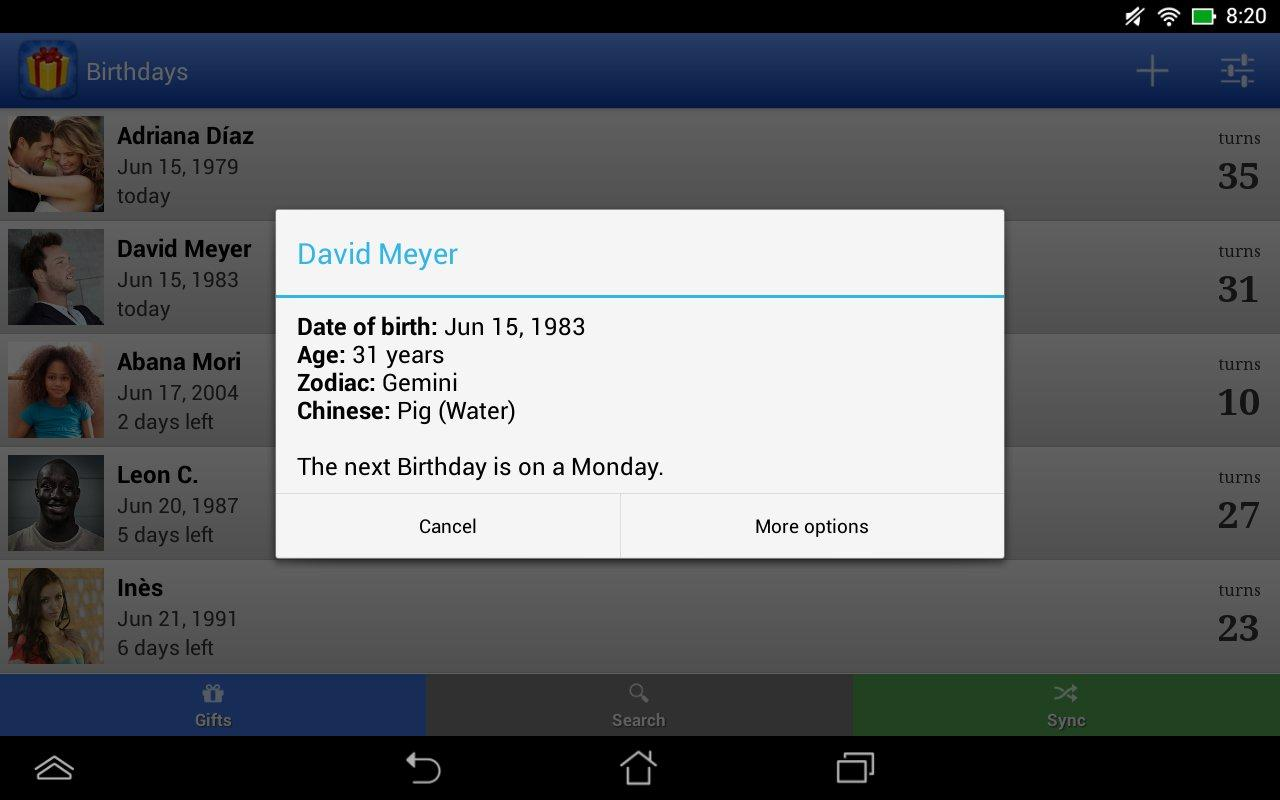 Birthdays for Android 3.4.11 Screen 4