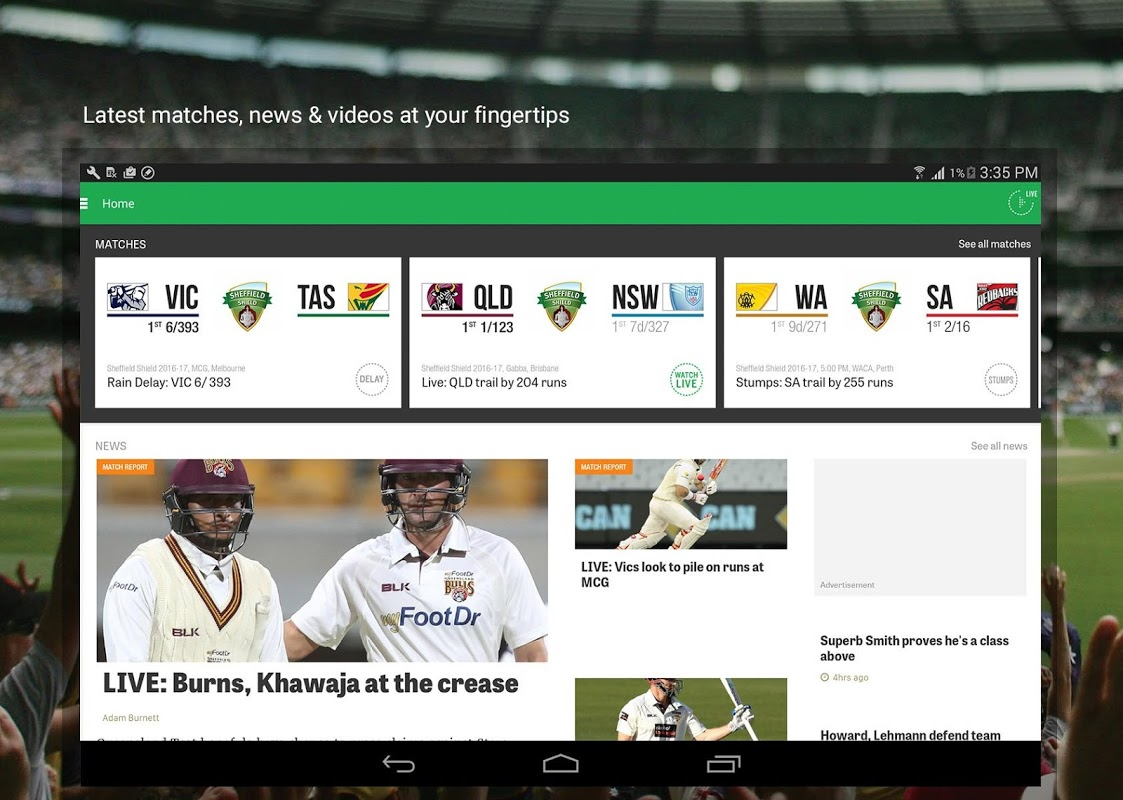 Android Cricket Australia Live Screen 3