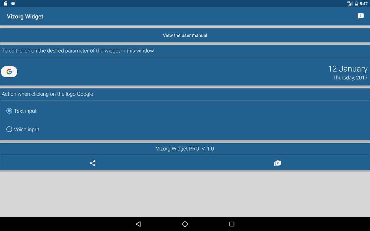 Android Vizorg Widget Screen 3