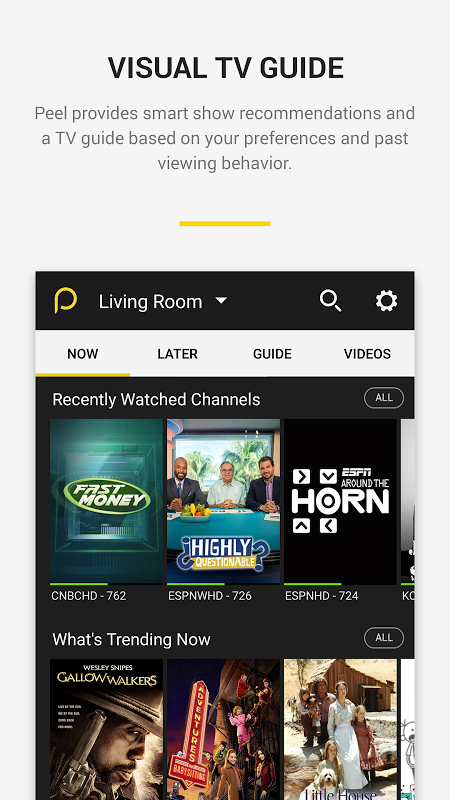 Android Peel Smart Remote TV Guide Screen 1