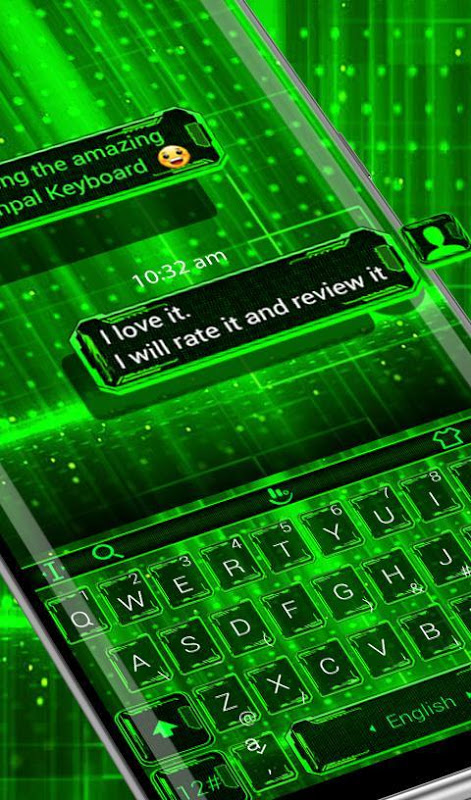 Android Green Light Keyboard Theme Screen 1