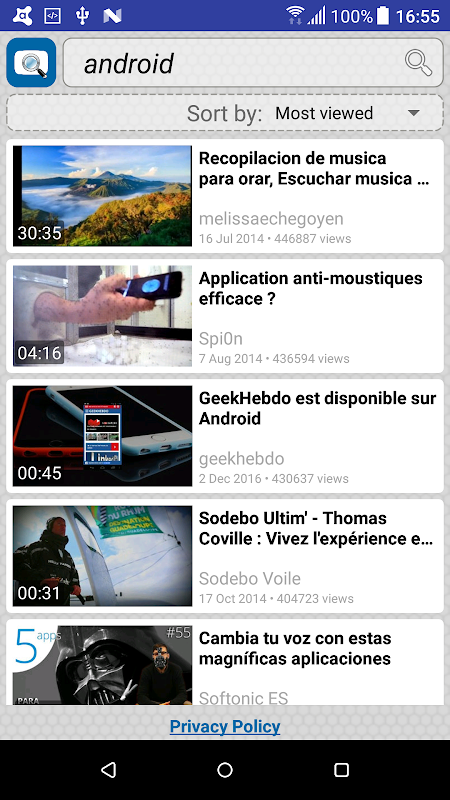 Android Quick Search for Dailymotion Screen 1