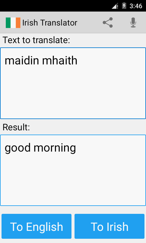 Android Irish Translator Screen 1