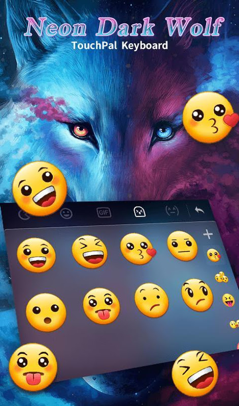 Android Blue Night Neon Dark Wolf Keyboard Theme Screen 7