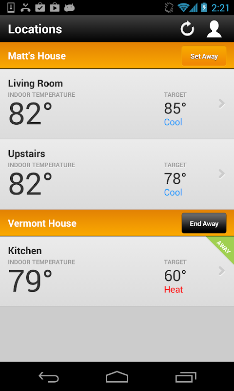 Android EnergyHub Thermostat Screen 2