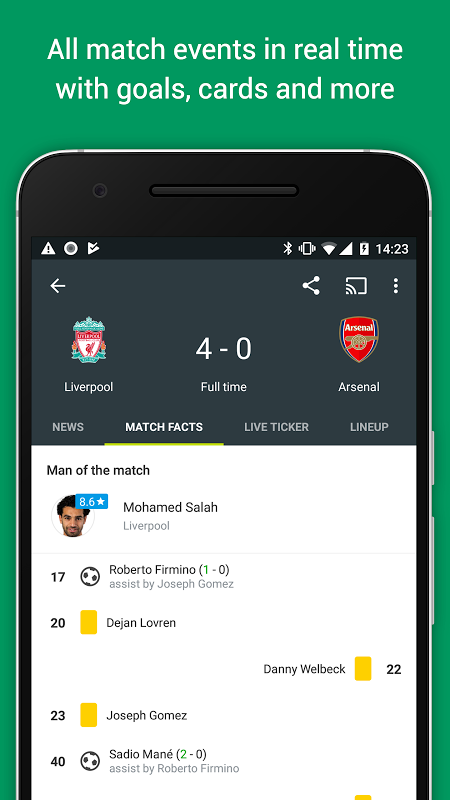 Android FotMob Screen 2