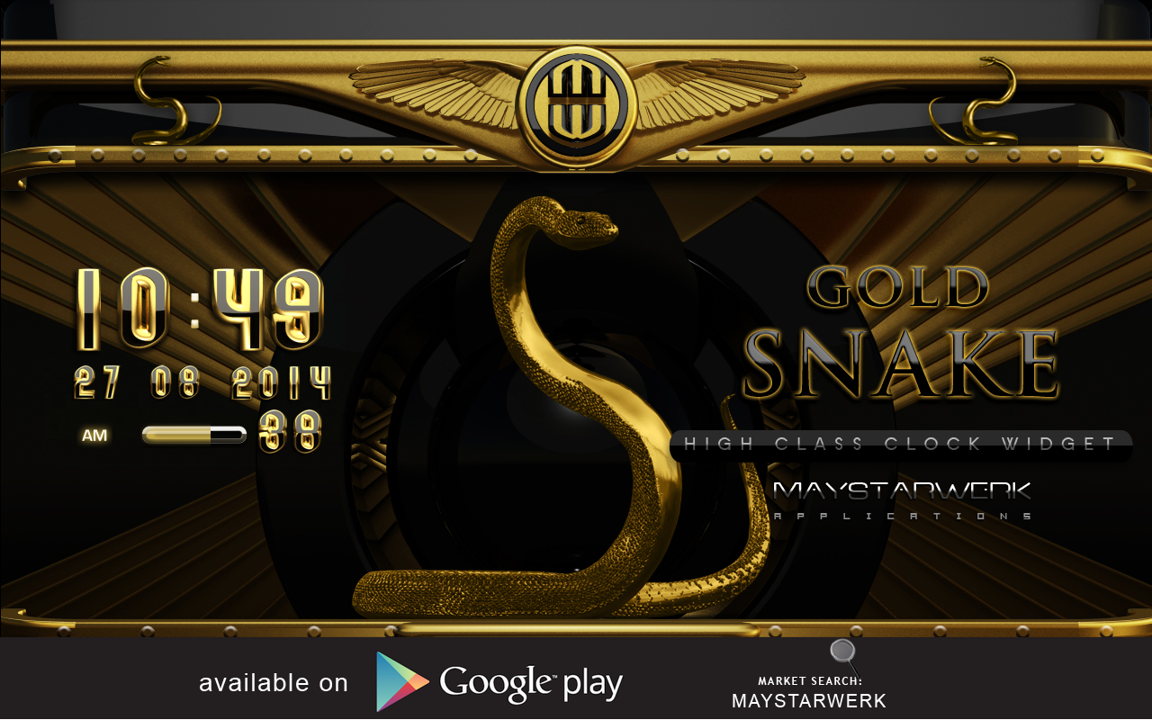 Android Gold Snake Clock widget Screen 8