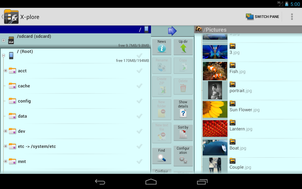 Android X-plore File Manager Screen 1