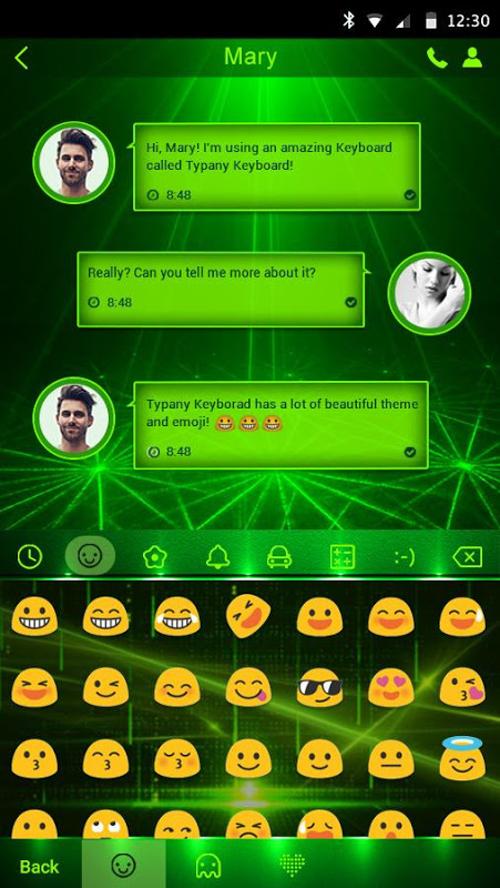 Android Green Light Typany Keyboard Screen 2