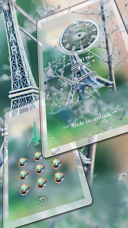Android Eiffel Tower Of Paris Locker Screen 2