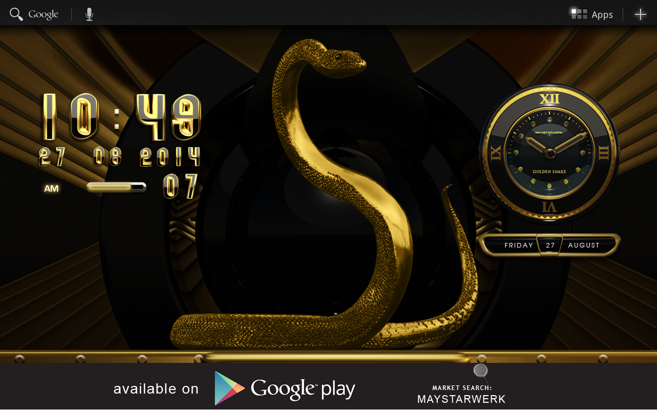 Android Gold Snake Clock widget Screen 10