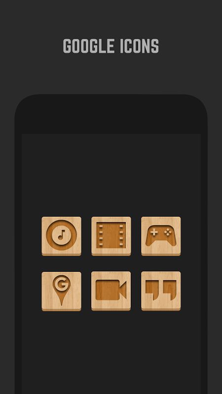 Android Wood Icon Pack Screen 1
