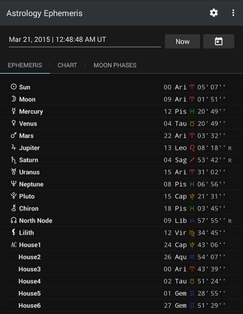 Astrology Ephemeris 0.5 Screen 1