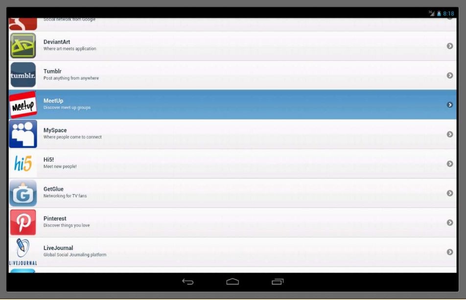 Android Social Networks Mobile Screen 1