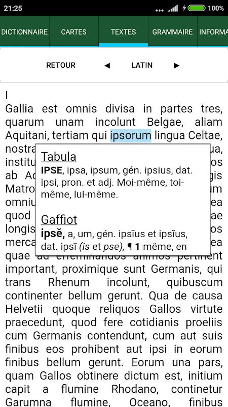Android Tabula : Dictionnaire latin Screen 3