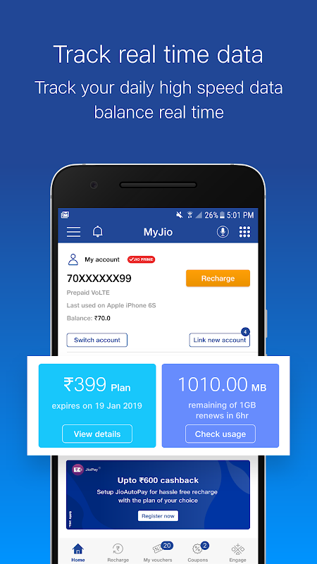 MyJio - Recharge & Pay Bills, Redeem ₹50 Voucher 5.0.17 Screen 5