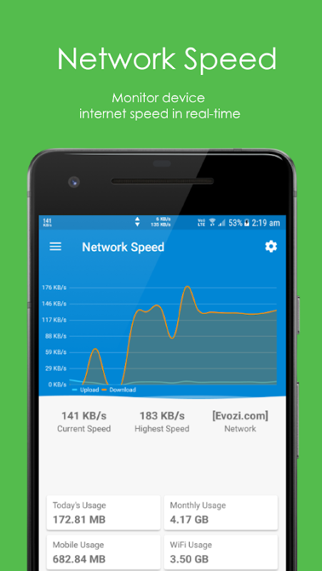 Network Speed - Monitoring - Speed Meter 2.0.2 Screen 1