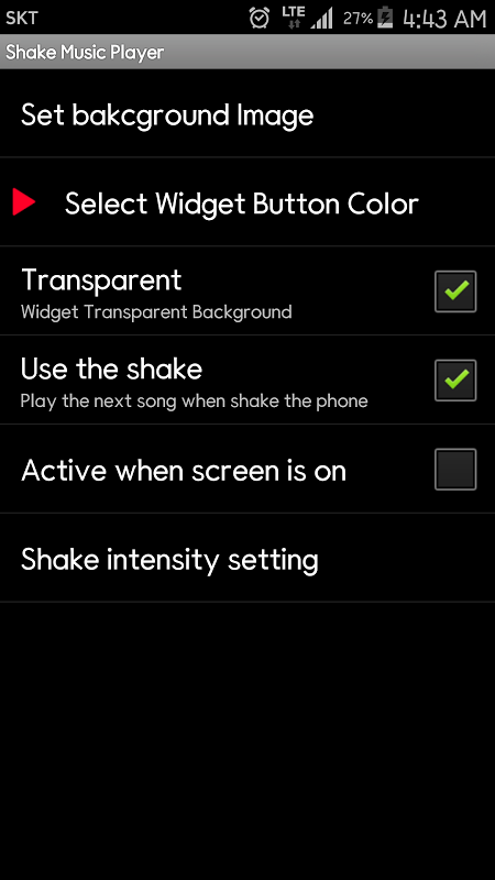 Android Shake Music Player Screen 7