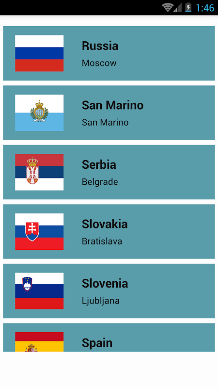 Android Countries and Capitals Screen 7