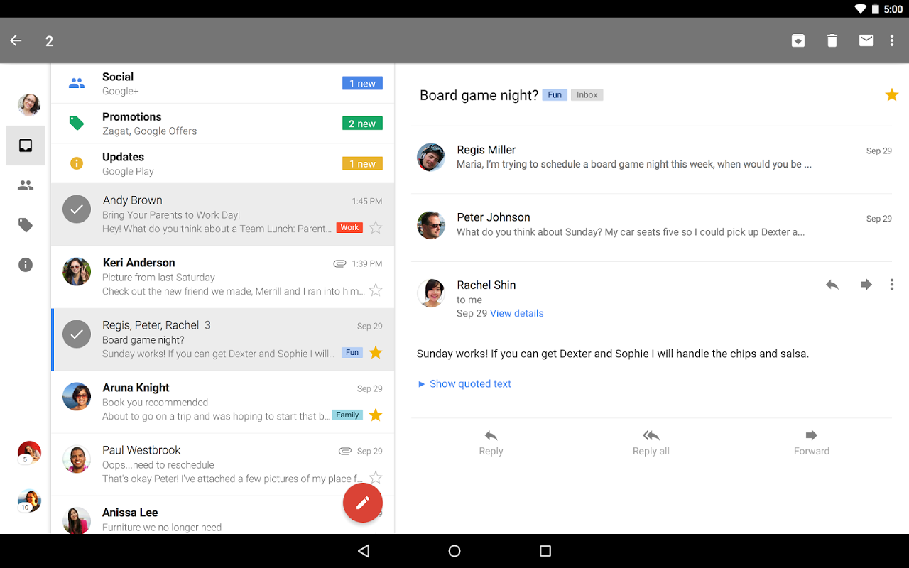Android Gmail Screen 2