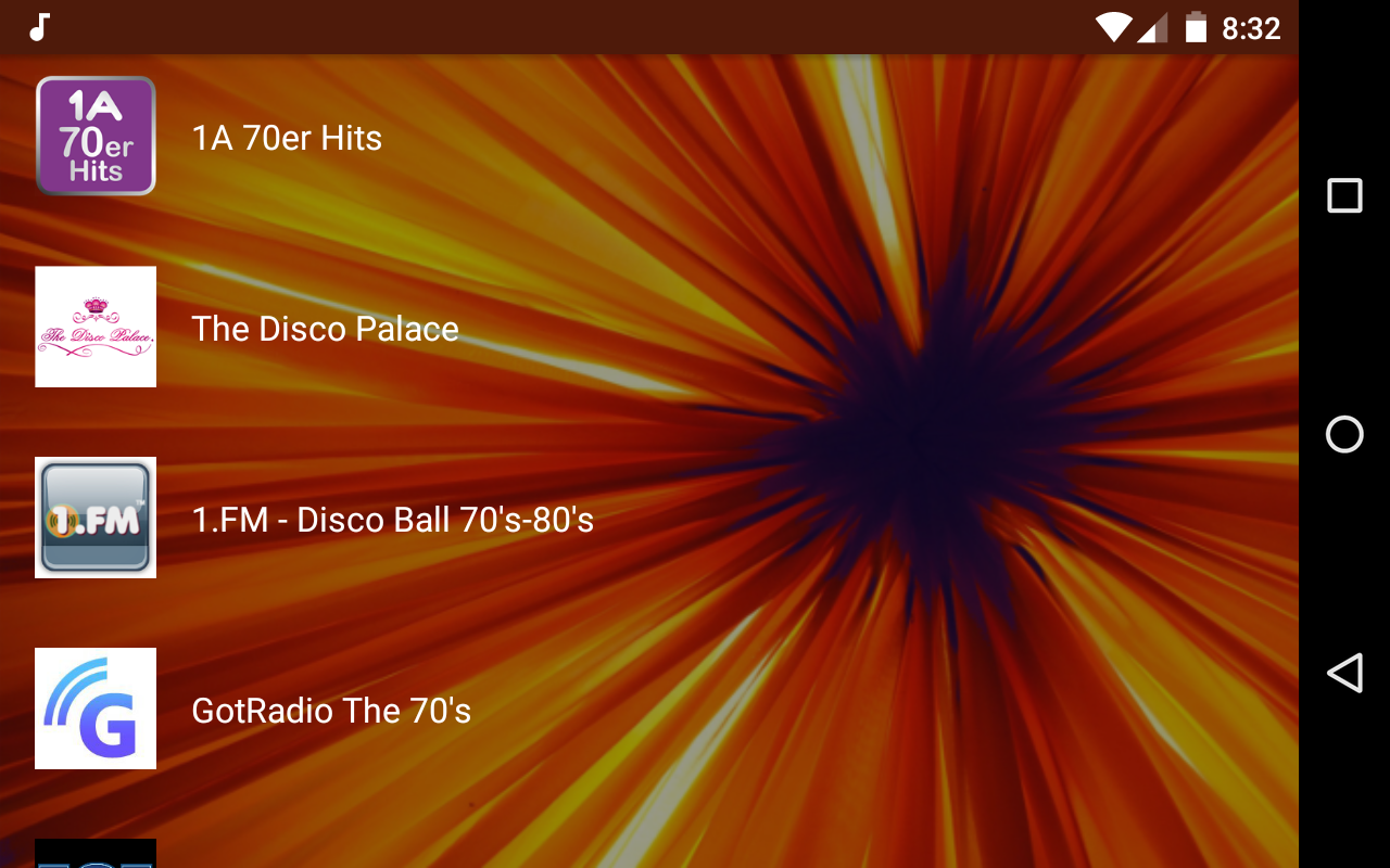 Android Live Radio 70s Screen 5