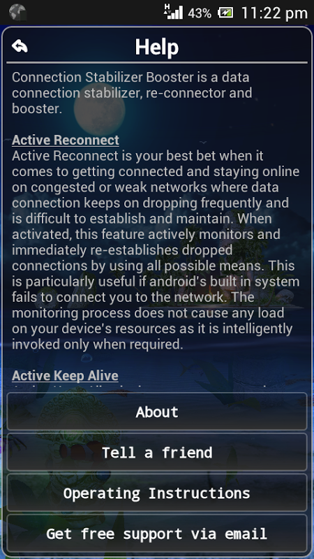 Connection Stabilizer Booster 1.9.4 Screen 2