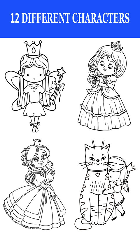 Android Cute Princess dolls Coloring Book Screen 2