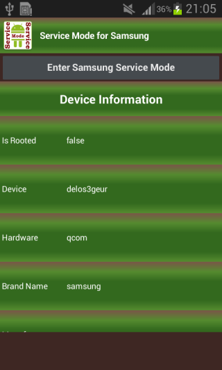 Android Service Mode Screen 1
