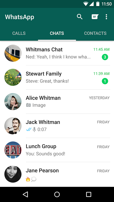 Android WhatsApp Messenger Screen 1
