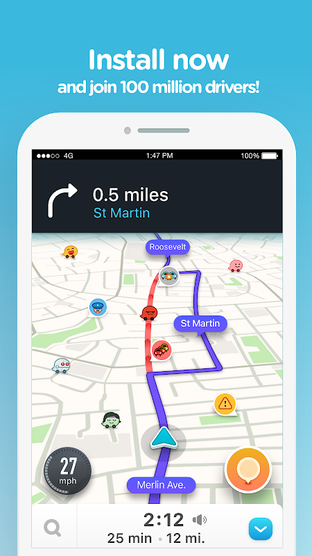 Waze - GPS, Maps, Traffic Alerts & Sat Nav 4.45.0.0 Screen 4
