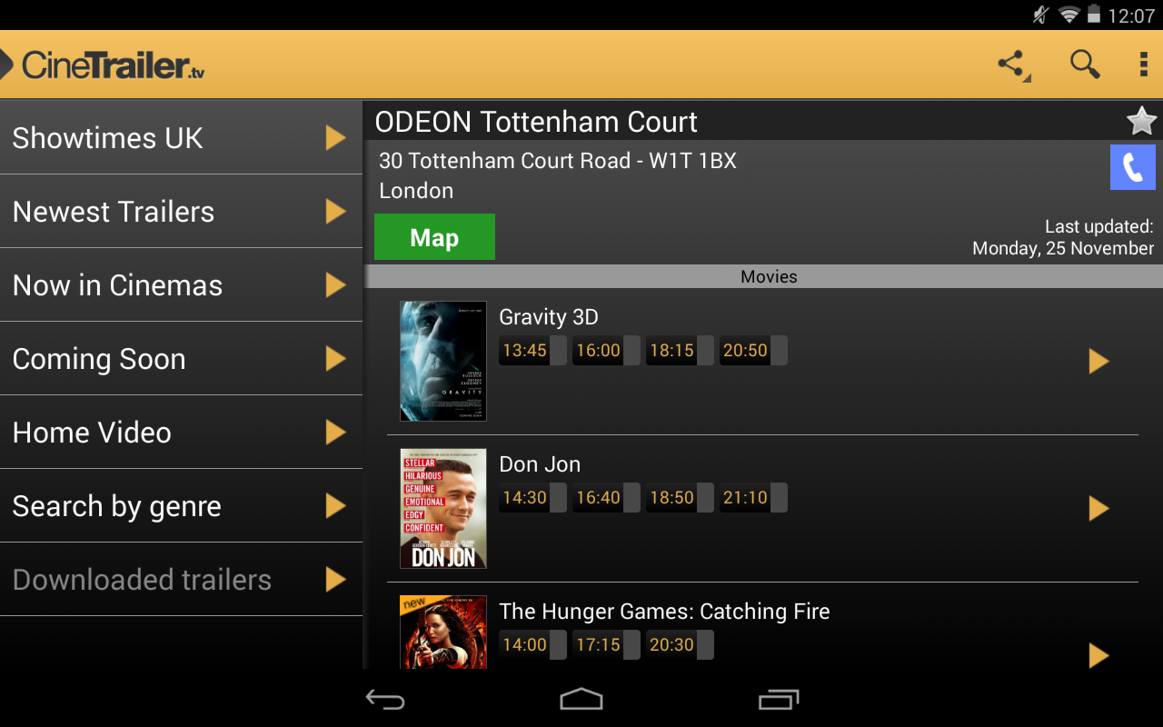 Android CineTrailer Cinema & Showtimes Screen 10