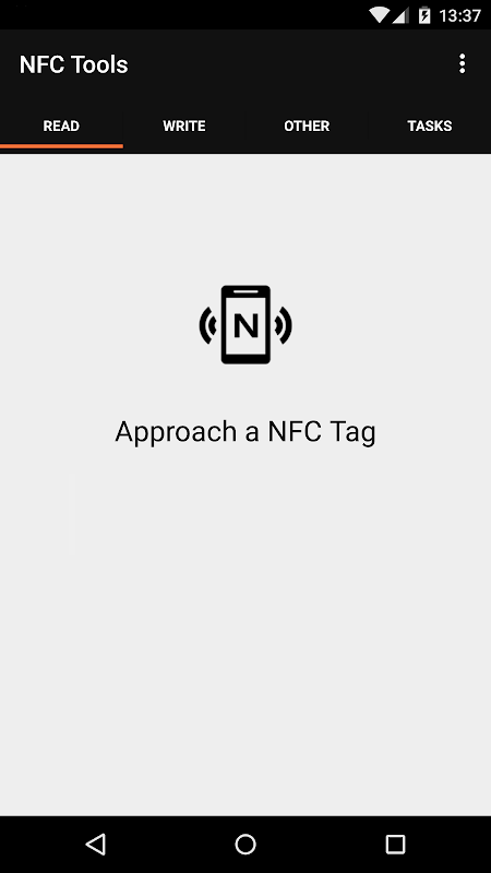 Android NFC Tools Screen 1