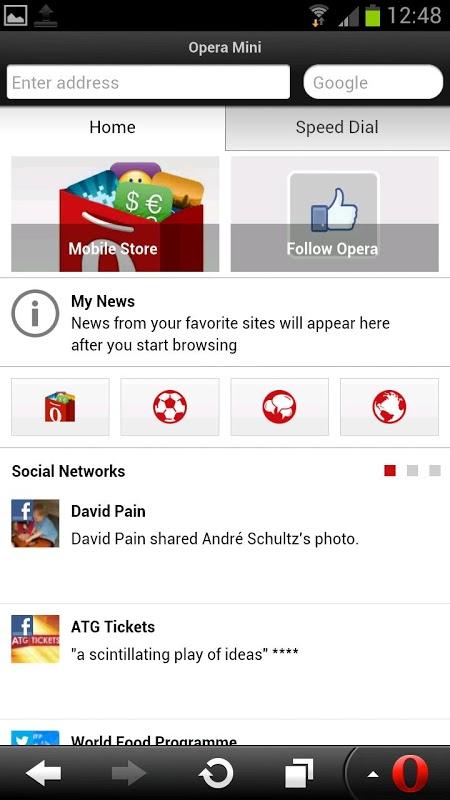 Android Opera Mini web browser Screen 3