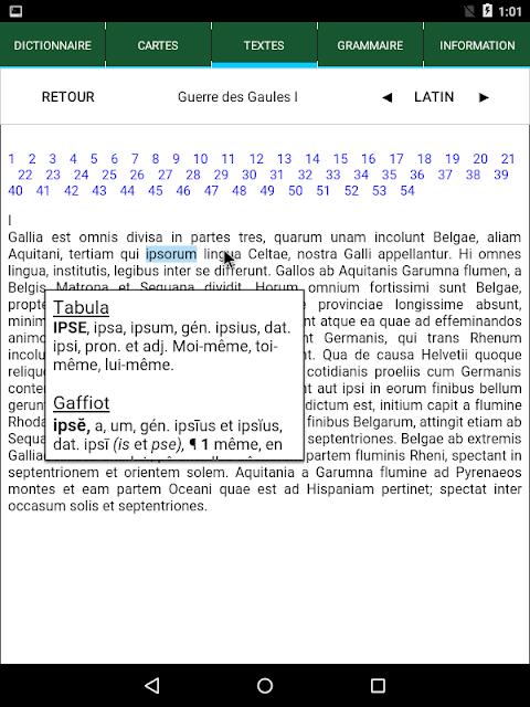 Android Tabula : Dictionnaire latin Screen 7