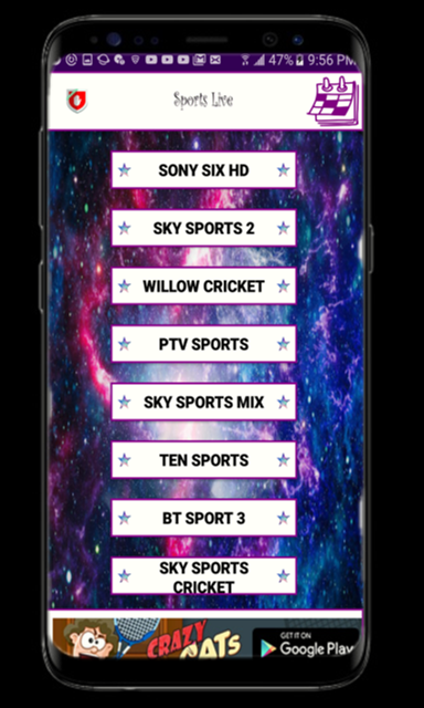 Android SL Lite -Live Cricket App Screen 1