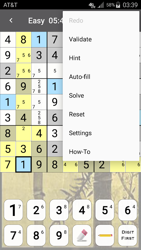 Android Sudoku Screen 3