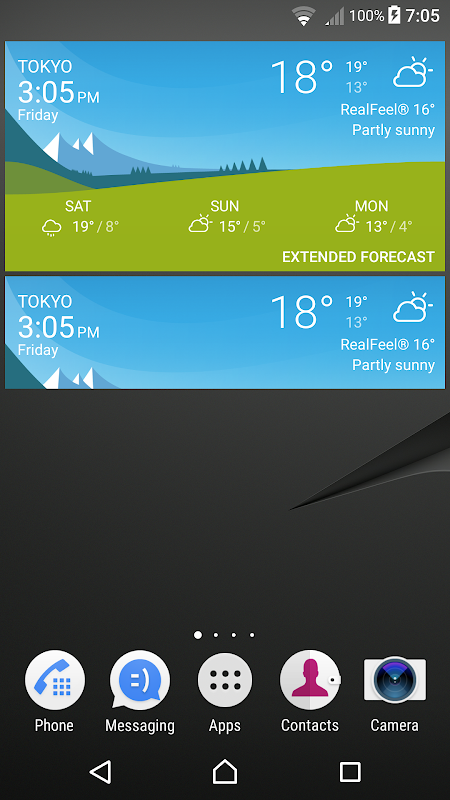 Android Sony Weather Screen 1