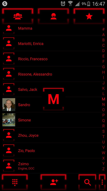 Theme for ExDialer Neon Red 2.0 Screen 3