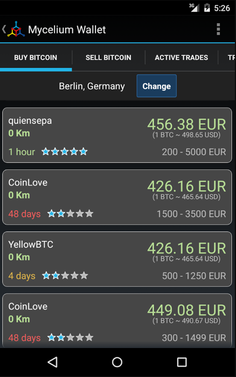 Android Mycelium Bitcoin Wallet Screen 7