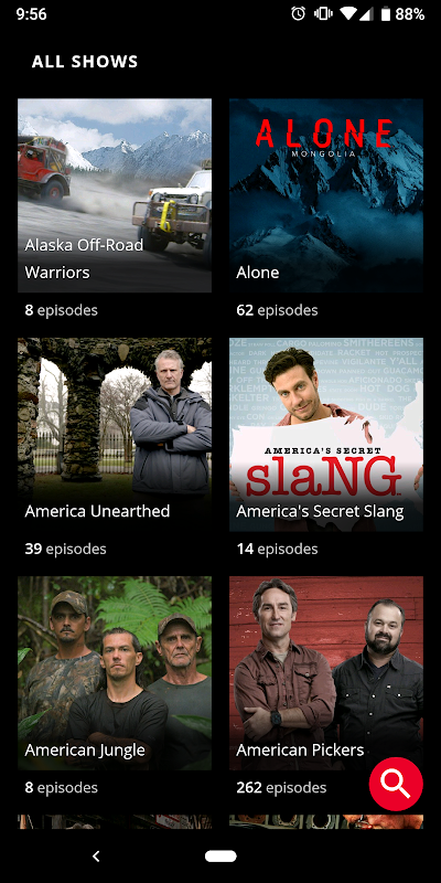 Android HISTORY (Android TV) Screen 1