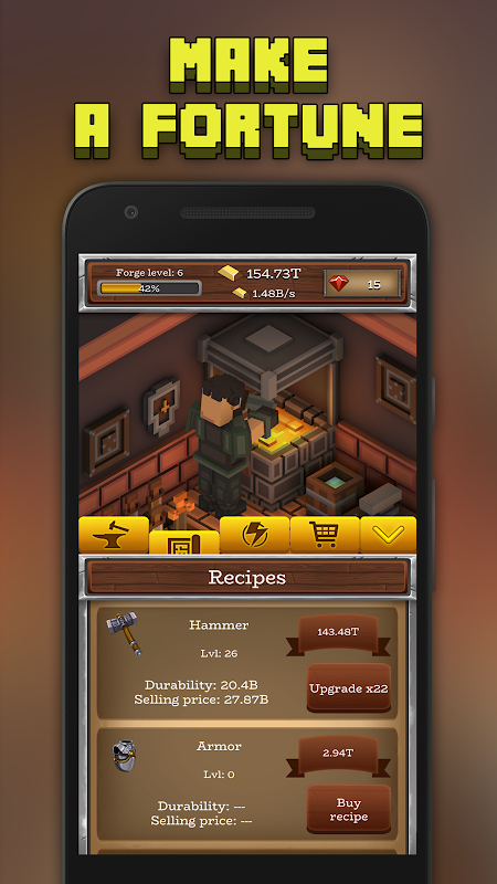 Android ForgeCraft - Idle Tycoon. Blacksmith Business Screen 1