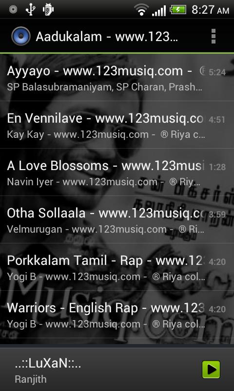 Default Music Player 10.0 Screen 3