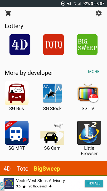 Android SG 4D, Toto, Big Sweep Screen 8