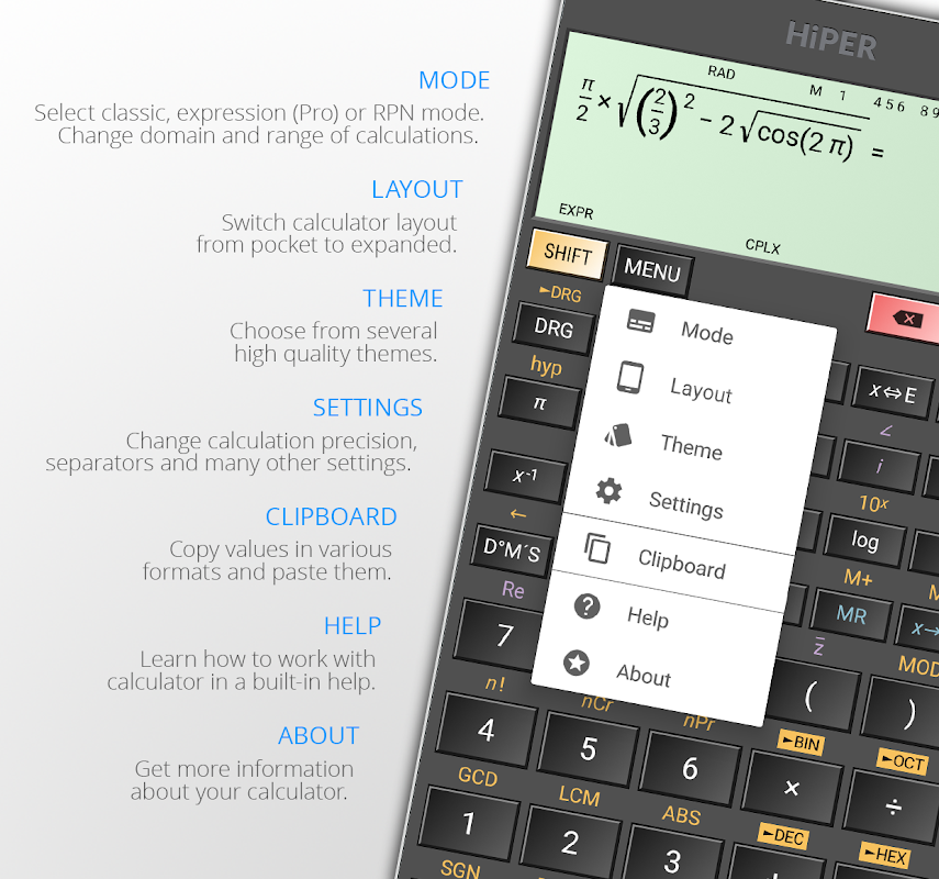 Android HiPER Calc Pro Screen 1