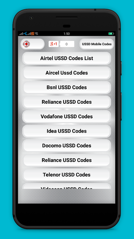 USSD mobile codes for all Indian mobile networks 2.1 Screen 1