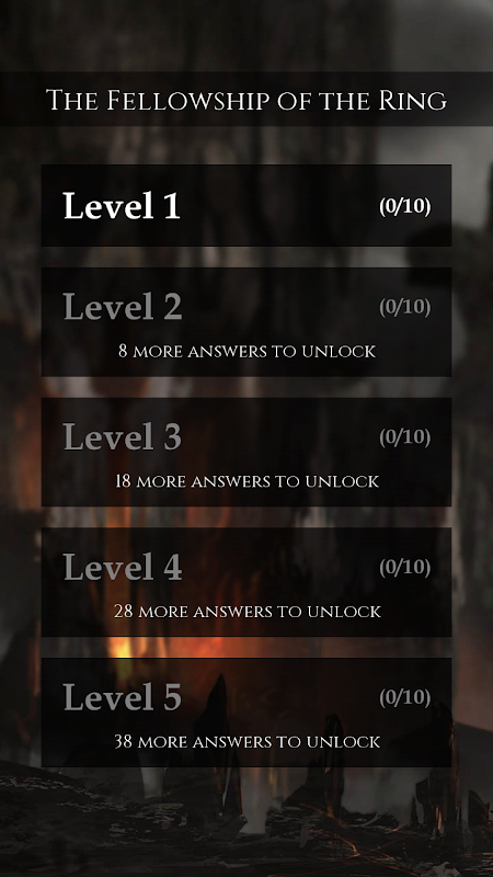 Android Quiz for LOTR Screen 1