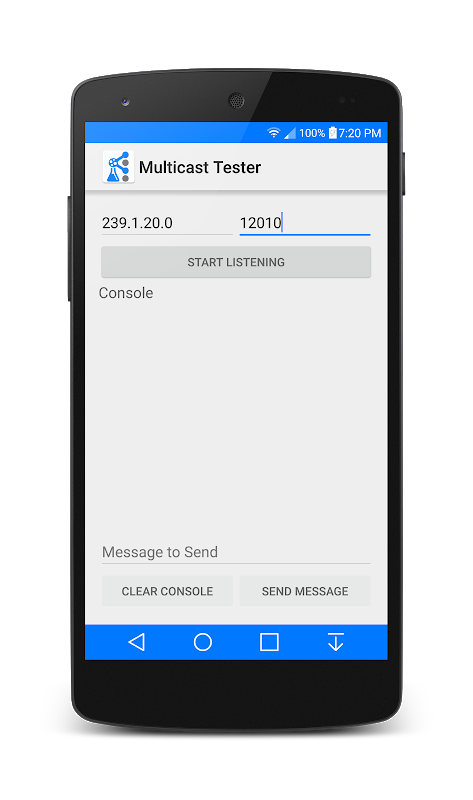 Android Multicast Tester Screen 1