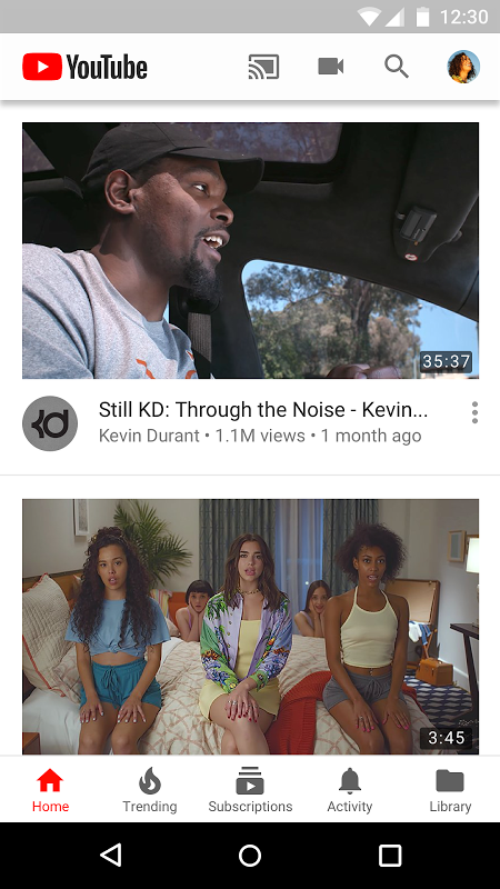 Android YouTube Screen 1